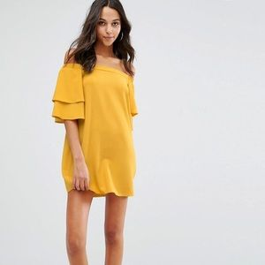 ASOS boohoo mustard off shoulder dress 8/M